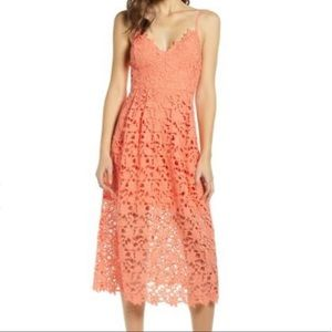 ASTR the Label Coral Lace Midi Dress